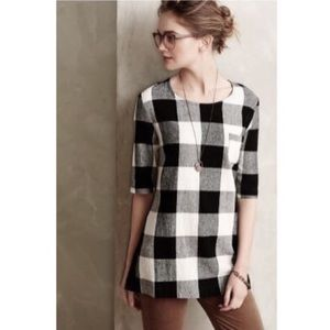 ⬇️EUC🖤Checkered Elbow Sleeved Peplum Back Blouse